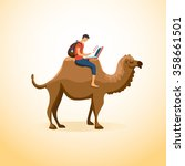 man travels on a camel with a... | Shutterstock . vector #358661501