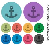 color anchor flat icon set on...