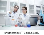 young scientists making test or ... | Shutterstock . vector #358668287