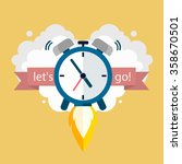 time to work. clock soaring up. ... | Shutterstock .eps vector #358670501