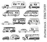 motorhomes black white icons... | Shutterstock .eps vector #358673459