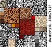 mega set of 18 seamless animal... | Shutterstock .eps vector #358676189