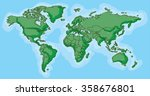 hand drawn map of the world... | Shutterstock .eps vector #358676801