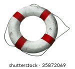Antique Life Buoy Isolated Wit...