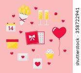 valentine day icons set on...
