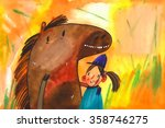 Watercolor Horse And Girl ...