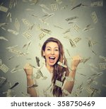 portrait happy woman exults... | Shutterstock . vector #358750469
