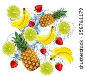 strawberries  bananas  limes... | Shutterstock . vector #358761179