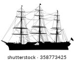 Silhouette Of Big Ship On Whit...