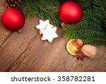 christmas decoration on wooden... | Shutterstock . vector #358782281