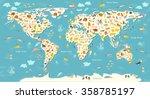 Animals World Map. Beautiful...