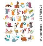 cute vector zoo alphabet. funny ... | Shutterstock .eps vector #358785629