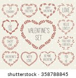 Vector Illustration Set Of Laurels And Wreath In Shape Heart Useful For Valentines Day