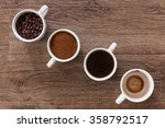 four cups of coffee  phases of... | Shutterstock . vector #358792517