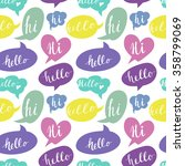 speech bubbles with hello and... | Shutterstock .eps vector #358799069