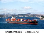 Fully Loaded Container Ship...