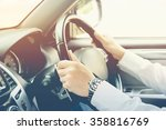 man driving car  steering wheel ... | Shutterstock . vector #358816769