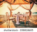 romantic dinner setting on the... | Shutterstock . vector #358818605