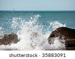 Powerful Ocean Wave Splashing...
