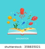imagination concept with opened ...   Shutterstock .eps vector #358835021
