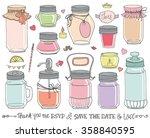 mason jars set.wedding romantic ... | Shutterstock .eps vector #358840595