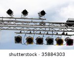 flood light and box on a stage... | Shutterstock . vector #35884303