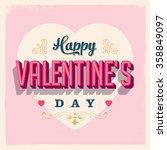 vintage style happy valentine's ... | Shutterstock .eps vector #358849097