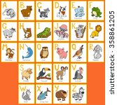 vector color zoo alphabet with... | Shutterstock .eps vector #358861205