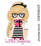 cute girl vector t shirt print... | Shutterstock .eps vector #358908029