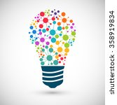 bulb icon with colored... | Shutterstock . vector #358919834