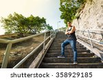 portrait of parkour man in the... | Shutterstock . vector #358929185