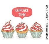 set of three cute cartoon... | Shutterstock .eps vector #358937735