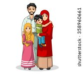 muslim family cartoon character ... | Shutterstock .eps vector #358960661