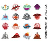 basketball text badges.... | Shutterstock . vector #358969265