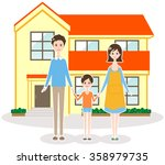 a single family house and family | Shutterstock . vector #358979735