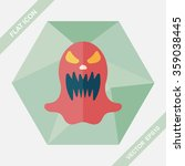 halloween ghost flat icon with... | Shutterstock .eps vector #359038445