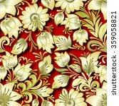 seamless golden floral ornament ... | Shutterstock .eps vector #359058821