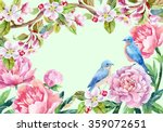 watercolor floral card and... | Shutterstock . vector #359072651