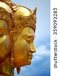 Small photo of BANGKOK-THAILAND-AUGUST 22 : Close-up Golden Brahma statue for worship on August 22,2015 Bangkok, Thailand.