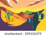 illustration  yellow desert.... | Shutterstock . vector #359131475