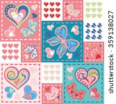 patchwork colorful with hearts...   Shutterstock .eps vector #359138027