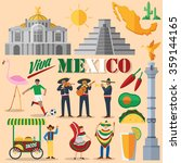 flat design  mexico icons and... | Shutterstock .eps vector #359144165