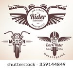 set of vintage motorcycle... | Shutterstock .eps vector #359144849