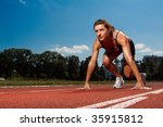 athletic woman on track... | Shutterstock . vector #35915812