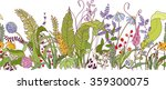 seamless plants hand drawn... | Shutterstock .eps vector #359300075