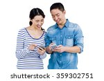 couple using smartphone against ... | Shutterstock . vector #359302751