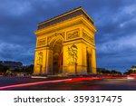 paris arc de triomphe at night  ...   Shutterstock . vector #359317475