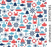 marine seamless pattern for... | Shutterstock .eps vector #359357681