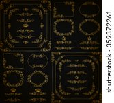 vector set of gold decorative... | Shutterstock .eps vector #359372261