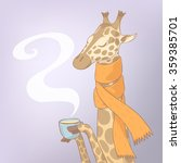 sick giraffe are drinking a cup ... | Shutterstock .eps vector #359385701